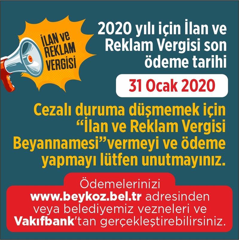 2020 Yılı İlan ve Reklam Verginizi Unutmayın